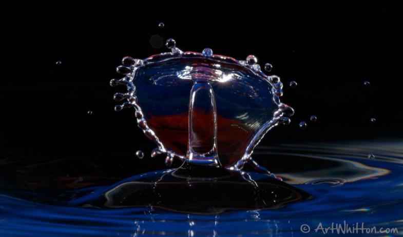 Water Drop Photography - Blue/Orange Base - Black Background