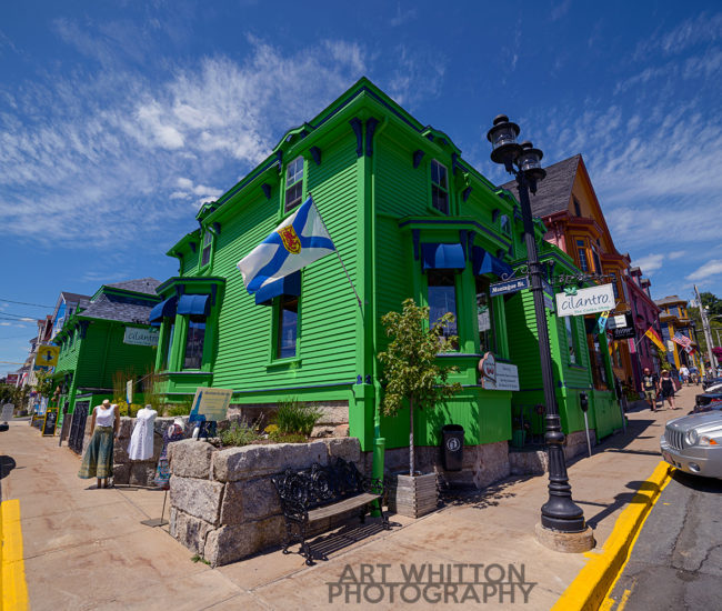 Nova Scotia Photography Lunenburg Nova Scotia green building Cilantro King Street