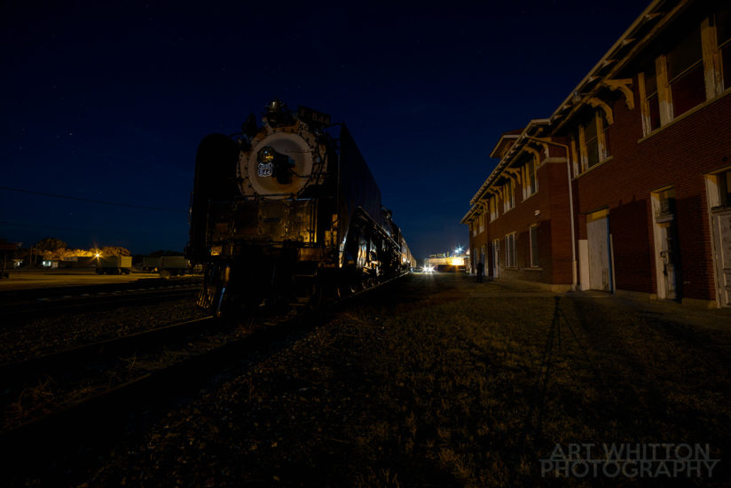 UP 844 at Rock Island Depot Fairbury Nebraska night 01