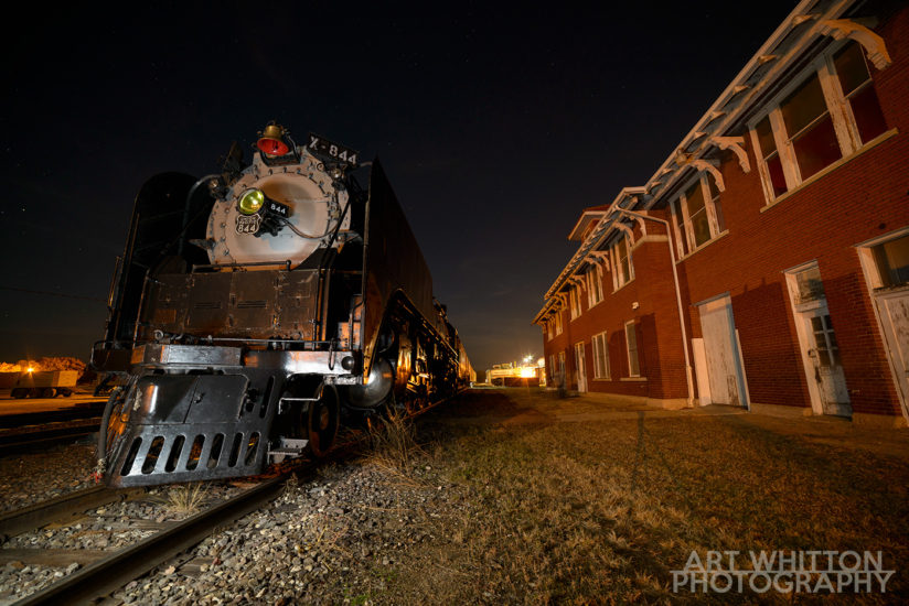 UP 844 at Rock Island Depot Fairbury Nebraska night 03