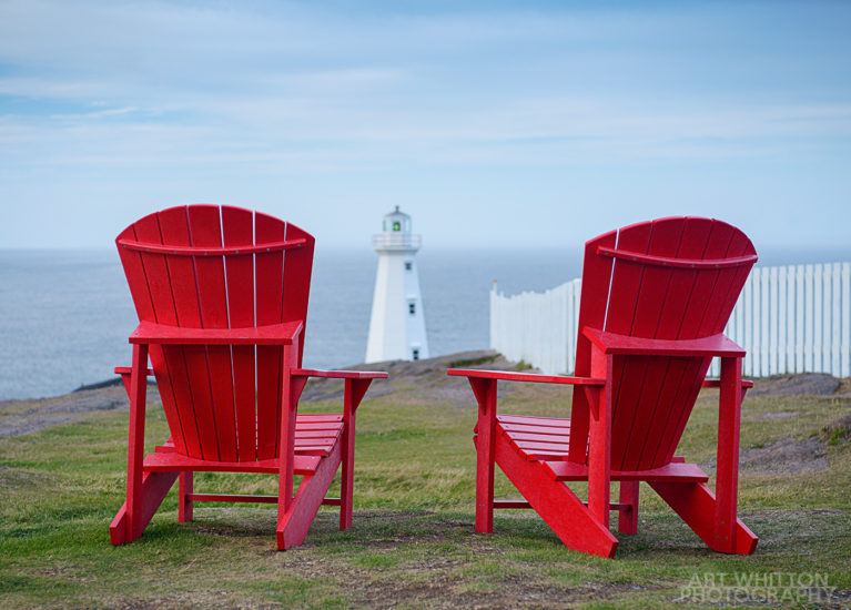 Newfoundland Photography - Red chairs and a lighthouse