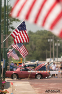 Small Town America - Flags and Cars