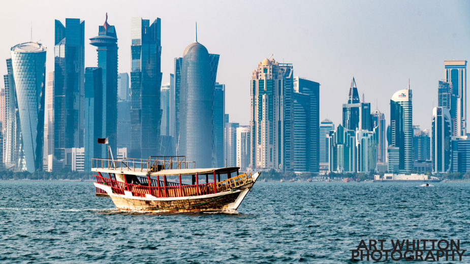 Dhow crossing the Doha Qatar Skyline