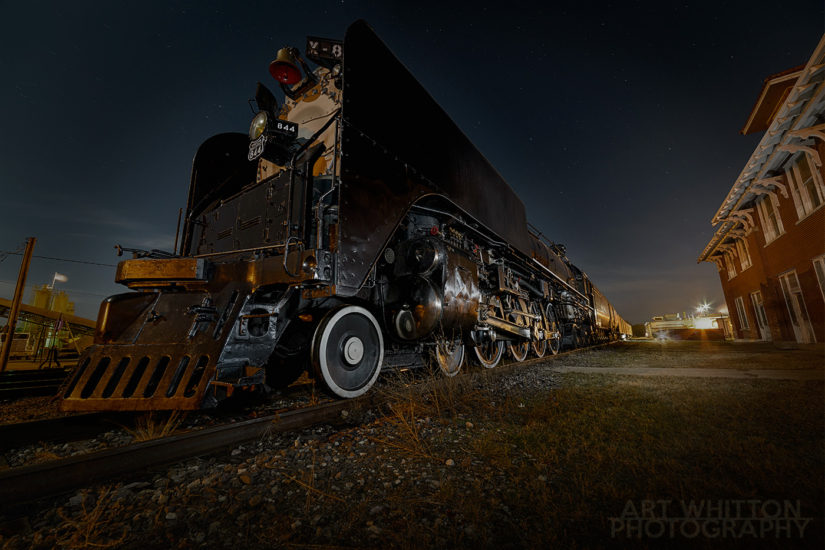 UP 844 at Rock Island Depot Fairbury Nebraska night Final