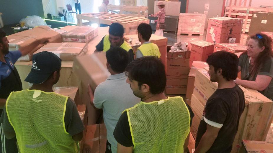 Unloading Artwork - Scrap Metal Art Show Doha Qatar
