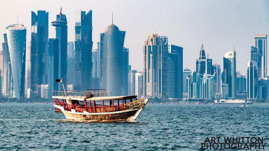 Dhow crossing the Doha Qatar Skyline