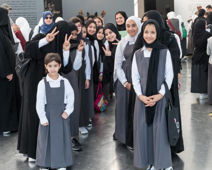 scrap metal art show student visitors Doha Qatar